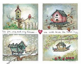 Watercolor Art Print - Four Seasons Birdhouse  - by Marji Stevens