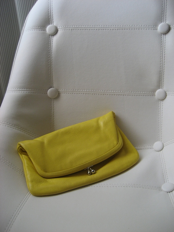 Vintage Yellow Leather Purse - Fold Over Frame Clutch