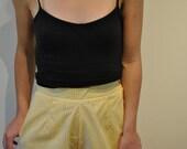High waisted yellow check shorts, XS