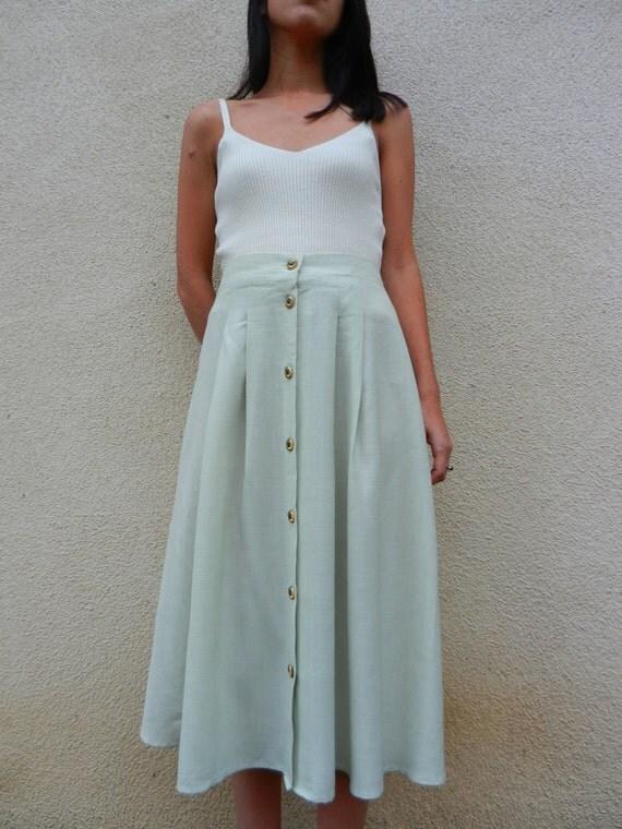 vintage 80s long mint green button up skirt-Medium/Large Skirt