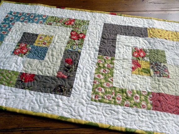 "Country Colored ""Box Lunch"" Quilted Table Runner"