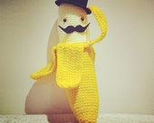 ANABANANNA Tm Made to order Amigurumi Half Peeled BANANA Gentleman TOPHAT Moustache Knitted Crochet Plush Toy yellow with top hat