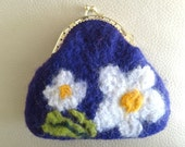 Purple purse flowers handmade felted wool