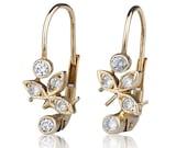 Handmade 14K yellow gold retro earrings with 0.30ct inlaid diamonds
