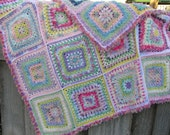 Pastel Multi coloured, multi textured soft and snuggly afghan/ New take on Granny Squares
