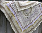 Shades of White, Cream and Pale Beige, multi textured soft and snuggly afghan. Great Gift.