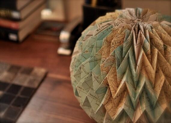 BUBBLE: Hanging Decorative Origami Paper Ball - Cavallini Map Print / FiberStore by Fiber Lab