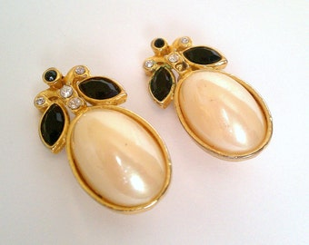 rhinestone, faux pearl and black gem gold tone clip on earrings - big shiny oval fake pearl cabochon and glittery faceted glass jewels
