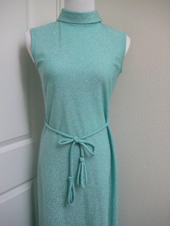 "Vintage Sparkling Teal ""Bleeker Street"" Dress a Division of Jonathon Logan, Inc. Sparkling Dress 70s Style Sleeveless Dress Long S M"