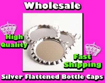 50 Silver Flattened Bottle Cap Pendants With 8mm Split Rings Attached - Highest Quality Gauranteed - Scrapbooking and Bottlecap Jewelry