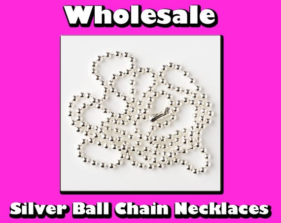 100 Ball Chain Necklaces - Wholesale - Silver Plated - Bottle Caps, Glass Tile Pendant, Scrabble Tiles, Dog Tag Necklace and Jewelry