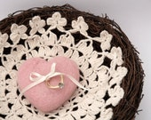 Ring Bearer Wedding Pillow, Pink Natural Nest for your Rustic Wedding, Woodland with Crochet Base and Needle Felted Heart Romantic, Country
