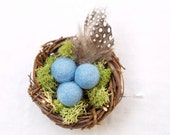 Nest Boutonniere Lapel Pin Button Hole, Rustic Wedding for the Groom, Robin's Egg Blue Turquoise with Feathers, Men's Men