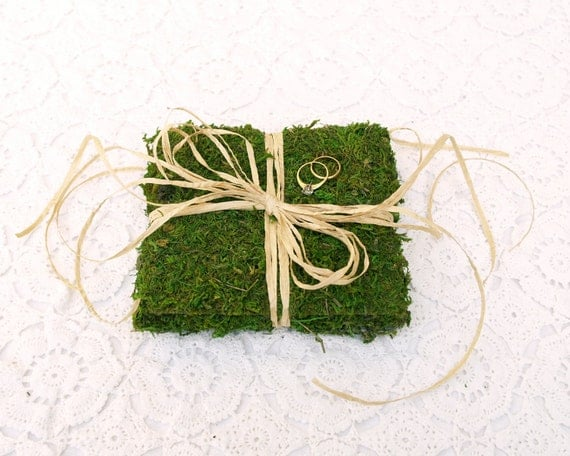 Moss Ring Pillow Bearer Wedding Woodland Country Chic Rustic Magical Fairytale Classic Simple Unique Green Woods Raffia