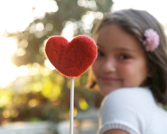 Flower Girl Wand, Wedding Party Felted RED Heart Country Farm Barn Rustic Classic Bride Pretty Favor Romantic Photo Prop Valentines Day