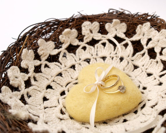 Ring Bearer Wedding Pillow, Yellow for your Rustic Wedding, Woodland Nest with Crochet Base, Lovely Needle Felted Heart, Fairytale Country