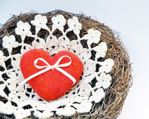Red Heart Ring Pillow for your Woodland Wedding, Rustic Nest Crochet Lace and Lovely Needle Felted Heart, Fairytale Classic Valentines Day