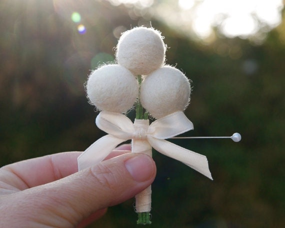 Wedding Boutonniere White Felt Craspedia billy button ball flower, perfect for your counrty wedding