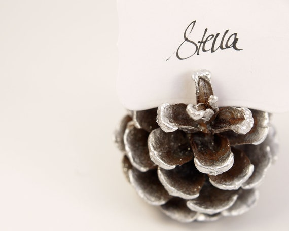 Silver Pine Cone Escort Cards, Woodland Wedding, 20 Name Place Seating Table Plan Rustic Country Theme Autumn Fall Winter Christmas White