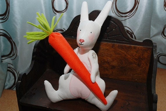 Tilda bunny with carrot toy, Spring decoration - handmade