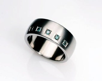 Men's teal Diamond wedding band, Palladium ring, mens wedding band, Blue, Teal Diamond, Palladium ring men, Commitment, nickel free, modern