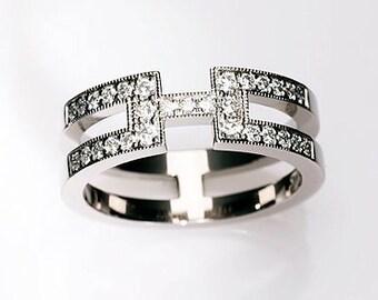 Unique diamond ring, diamond engagement ring, milgrain, white gold wedding ring, diamond wedding band, vintage engagement, anniversary