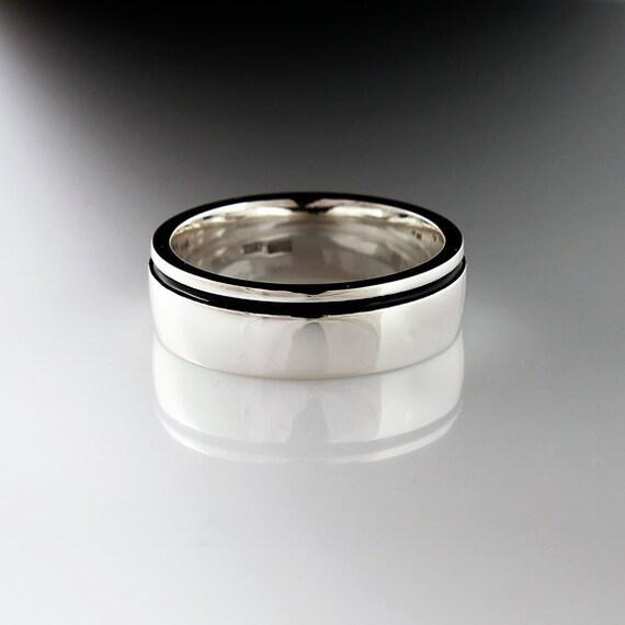 items similar to last change black enamel wedding band
