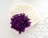 NEWBORN HAT, cream and  purple hat, crochet hat, baby hat,soft cotton,girls hats, summer trends, summer hat, happy, sweet,