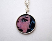 Comic print pendant necklace