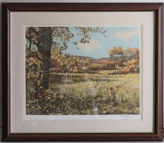 Vintage Art Print - Robert Sarsony signed serigraph - 1984 framed landscape American Realism Impressionism