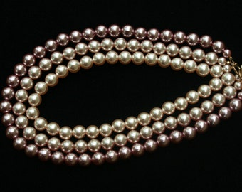 Vintage Multi Strand Mauve Faux Pearl Necklace Perfect for a Wedding Mother of the Bride Day to Night Classic Vintage Necklace
