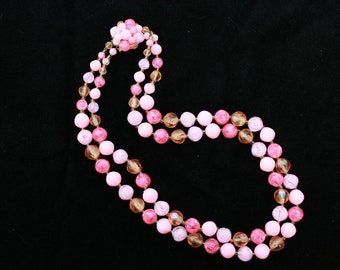 Pink Bead Necklace Western Germany 1950s Vintage 2-Strand Any Occasion