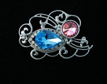 Vintage Faux Opal Rhinestone Pin Brooch Pear Blue Rhinestone Art Nouveau Any Occasion
