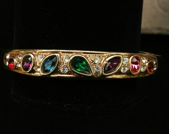 Ruby Red Emerald Green Blue Pink Rhinestone Clamper Bracelet by Roman Wedding Any Occasion