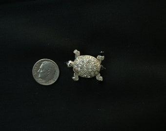 Rare Vintage Coro Rhinestone Turtle Perfume Pin