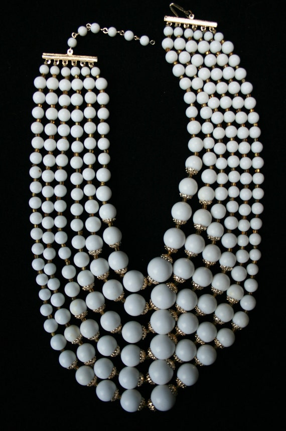 Vintage 6-Strand White Bead Necklace Marked JAPAN-Reserved for Jennie