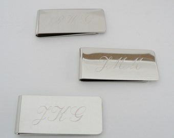 Three Personalized Money Clips - Groomsman Gifts Engraved Free, FAST Shipping