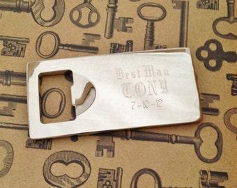 Custom Engraved Bottle Opener for Groomsman or Best Man Present