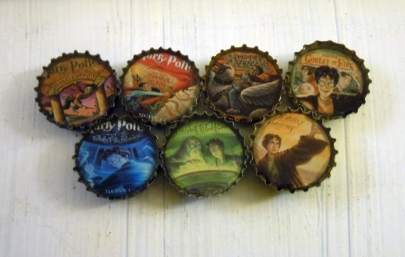 Harry Potter Books Bottle Cap Magnets