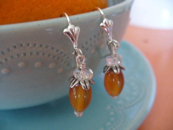 Carnelian Gemstone and Clear Crystal Beaded Leverback Earrings Orange Color Earrings
