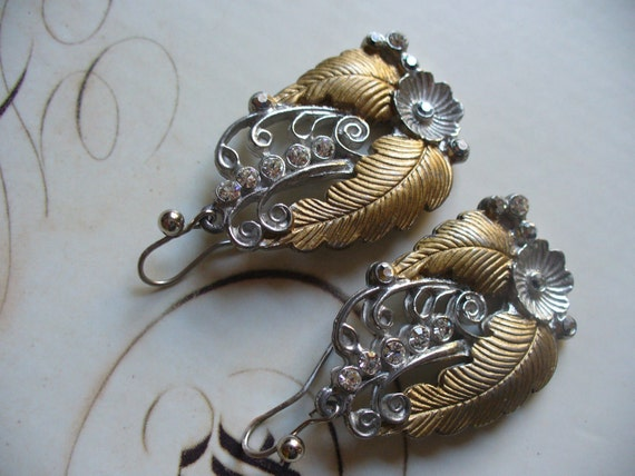 Vintage Leaf and Flower Two Tone Dangle Earrings with Crystals