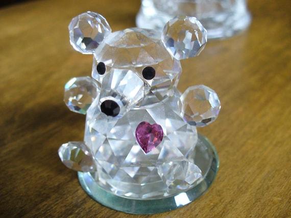 Swarovski Crystal Teddy Bear with Purple Heart Swarovski Crystal Bear Figurine Plus Free Earring Sample With Purchase Of Teddy Bear