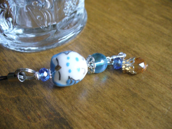 Sleeping Beauty Blue Owl Purse Charm Backpack charm Phone charm Rear view mirror dangle Stocking Stuffer