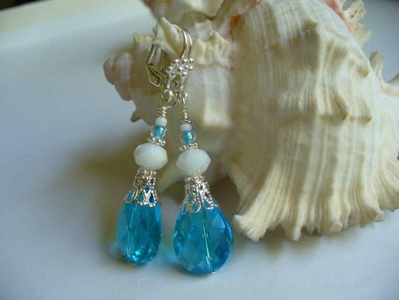 Blue Teardrop and Milk Glass Dangle Leverback Earrings