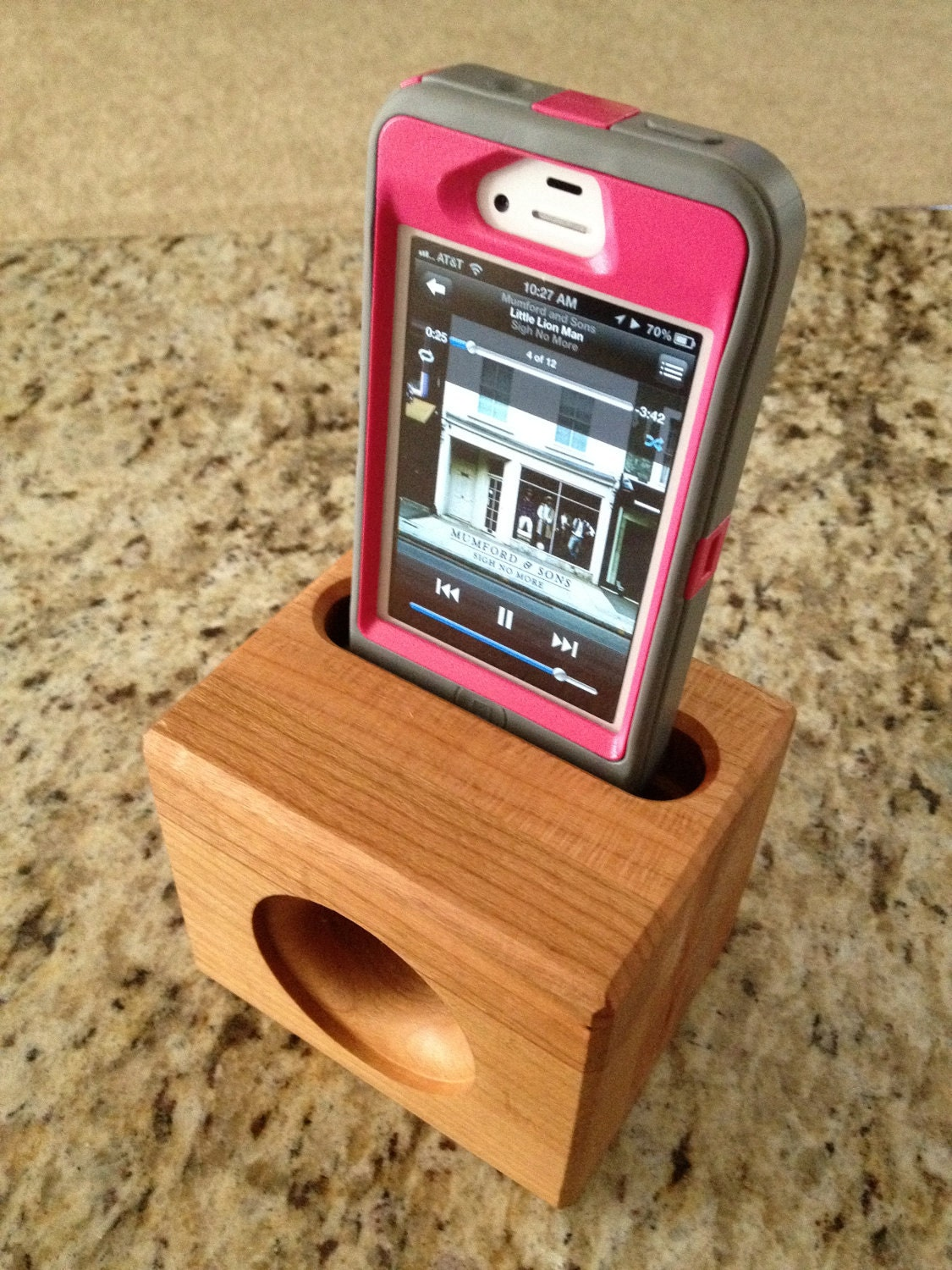 Wooden iphone speaker stand no electricity needed makes a
