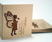 Mini Note Cards with Fairy Butterfly Silhouette  - 3 x 3 - Set of 12