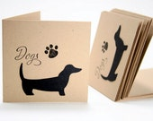 Mini Note Cards with Black Dog   - 3 x 3 - Set of 12
