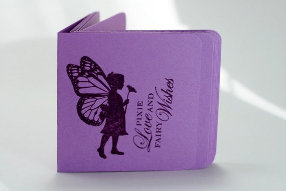 Purple Mini Note Cards with Fairy Butterfly Silhouette  - 3 x 3 - Set of 12