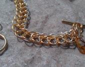 womens two tone bracelet, silver and gold chain, swarovski crystal jewelry
