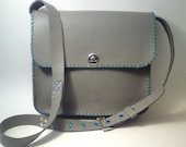 Leather grey bag / Handmade cross body - messenger bag